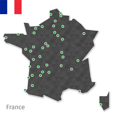 Carte implantation des magasins Gamecash France